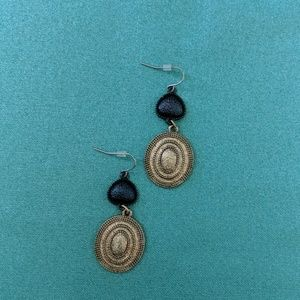 Gold and brown dangling earrings